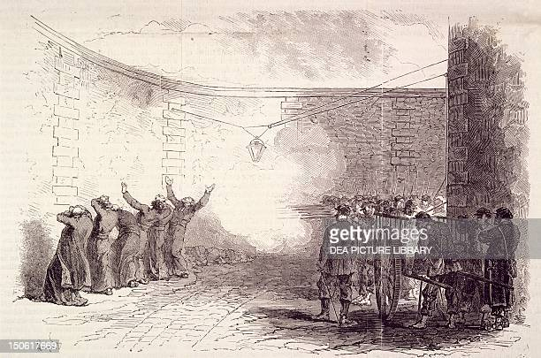 Shooting of hostages at Roquette prison May 24 during the Paris Commune George Darboy the Archbishop of Paris Abbe Duguerry curator of the Madeleine...