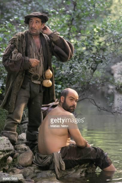 Shooting of ´La Marrana´ by Jose Luis Cuerda The actors Alfredo Landa and Antonio Resines in a scene of the film