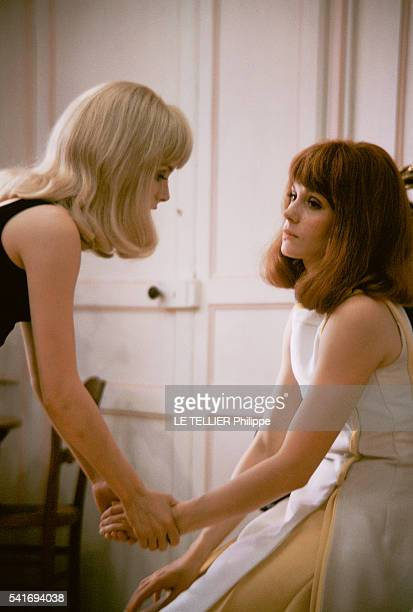 shooting of the movie Les Demoiselles de Rochefort by Jacques Demy in the city hall of Rochefort the actresses Catherine Deneuve and her sister...