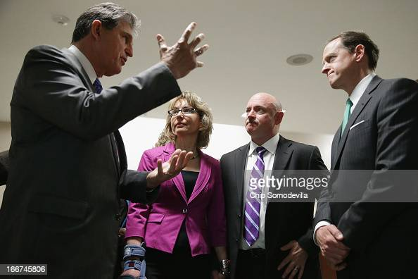 Shooting victim and former Rep Gabrielle Giffords and her husband and retired astronaut Mark Kelly join Sen Joe Manchin and Sen Pat Toomey in the...