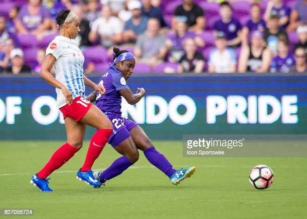 shoots on goal Orlando Pride forward Jasmyne Spencer during the NWSL soccer match between the Orlando Pride and the Chicago Red Stars on August 5th...