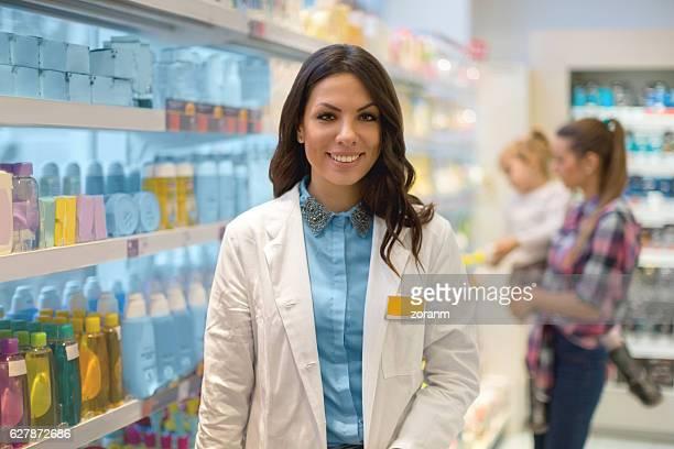 Shop assistant in drug store