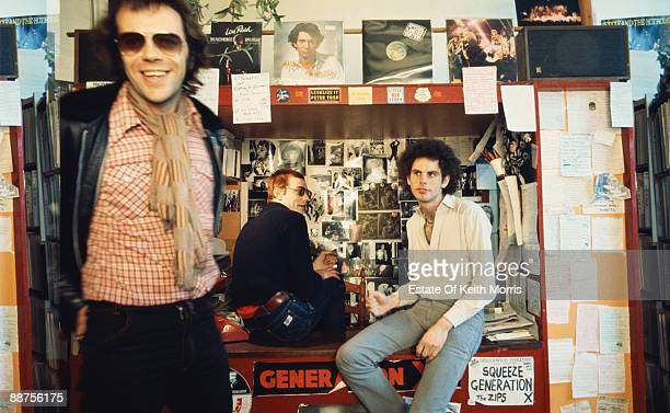 Shop founder Geoff Travis in the Rough Trade Shop London circa 1977 On the left is Jake Riviera founder of Stiff Records