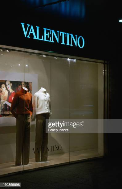 Shop front and window display of Valentino Shop, Central, Hong Kong