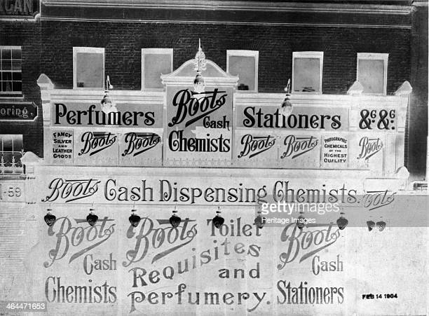 Shop front of Boots the Chemist 58 London Road Southwark London 1904 Also advertising themselves as a perfumers and stationers