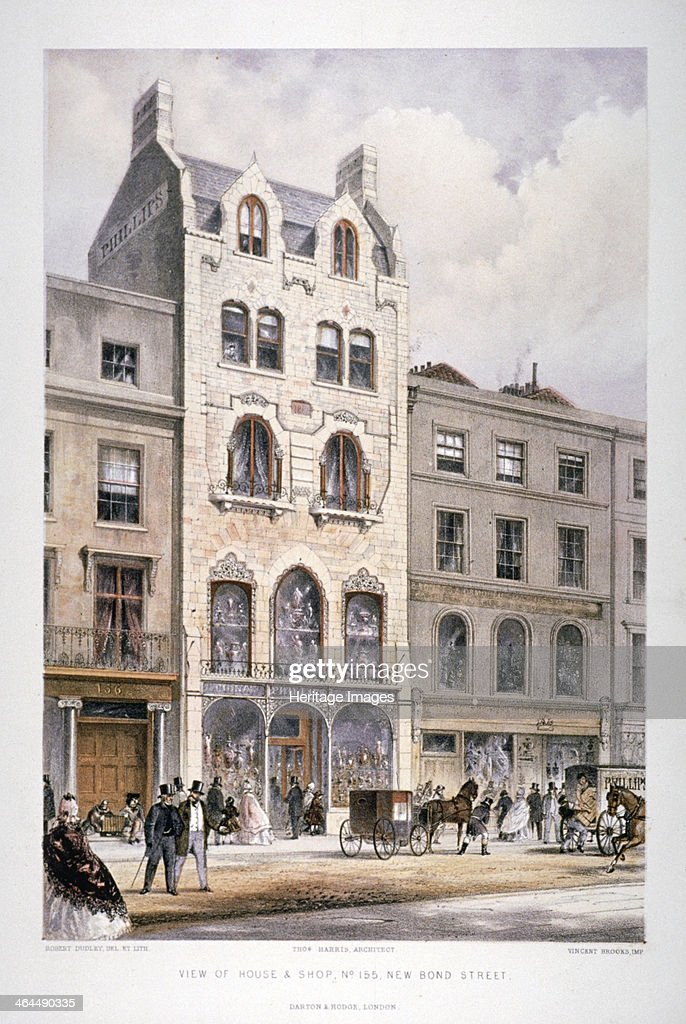 Shop fronts on New Bond Street Westminster London c1860 View showing figures and horsedrawn vehicles on the street