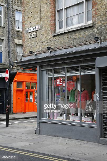 Shop fronts on the junction of Brick Lane and Sclater Street in Shoreditch