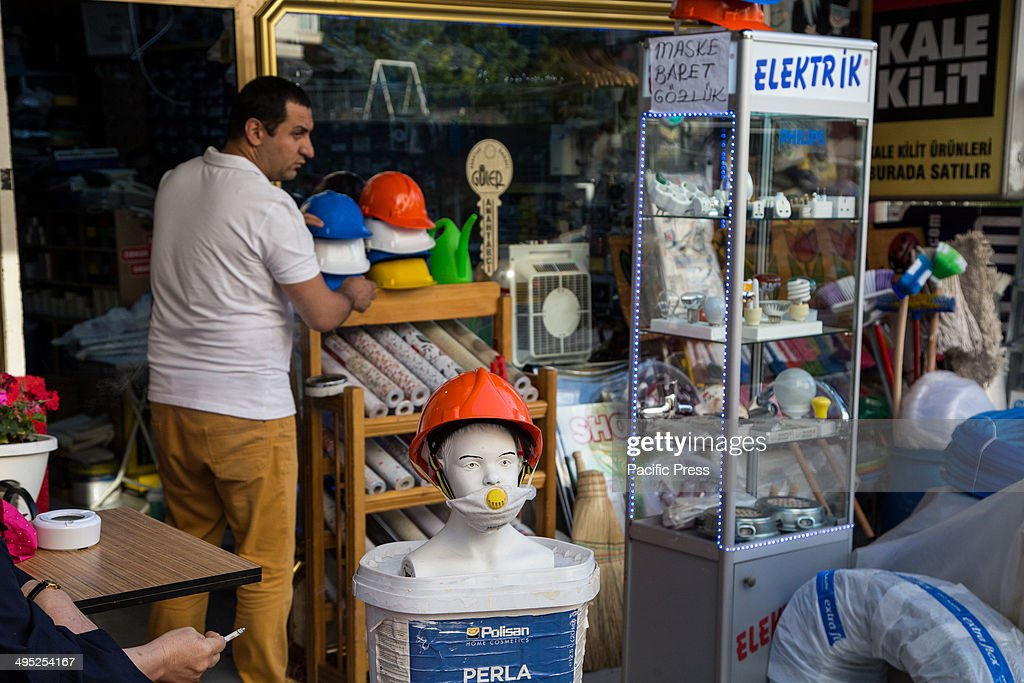 A shop in Bestekar sells protective gear used by demonstrators during Gezi Protests against tear gas canisters shot by riot police. Violent clashes between protesters and the police during the one-year anniversary of the country's largest anti-government demonstrations in decades.
