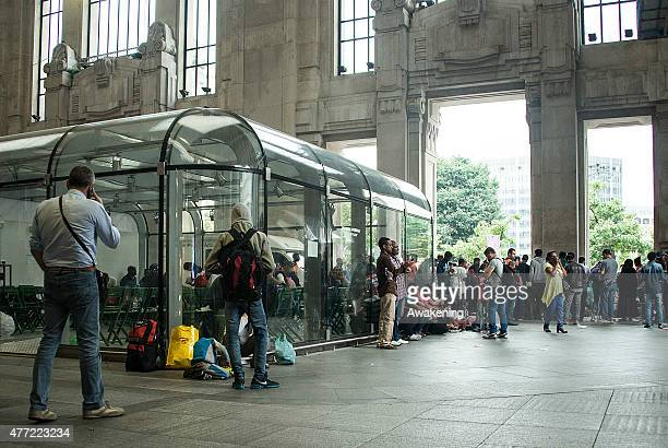 Shop inside the Milan's Centrale train Station are closed to temporarily house migrants on June 15 2015 in Milan Italy The Major of Milan and...