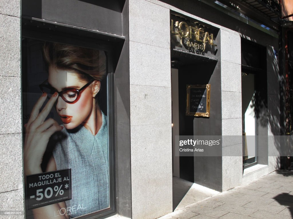 Shop of the French cosmetics brand L'Oreal in Fuencarral street in Madrid Spain