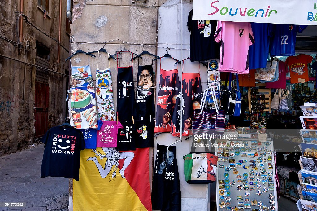 A shop selling aprons with printed of the movie 'The Godfather' on August 14 2016 in Palermo Italy Despite the protests of the antiMafia associations...