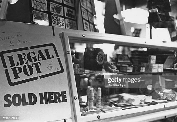 A shop selling pot smoking paraphernalia and 'legal highs' Cambridge Massachusetts USA 6th January 1978