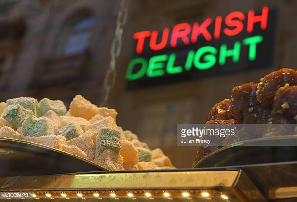 A shop selling Turkish Delight is seen in Istanbul during previews for the WTA Championships 2011 on October 23 2011 in Istanbul Turkey