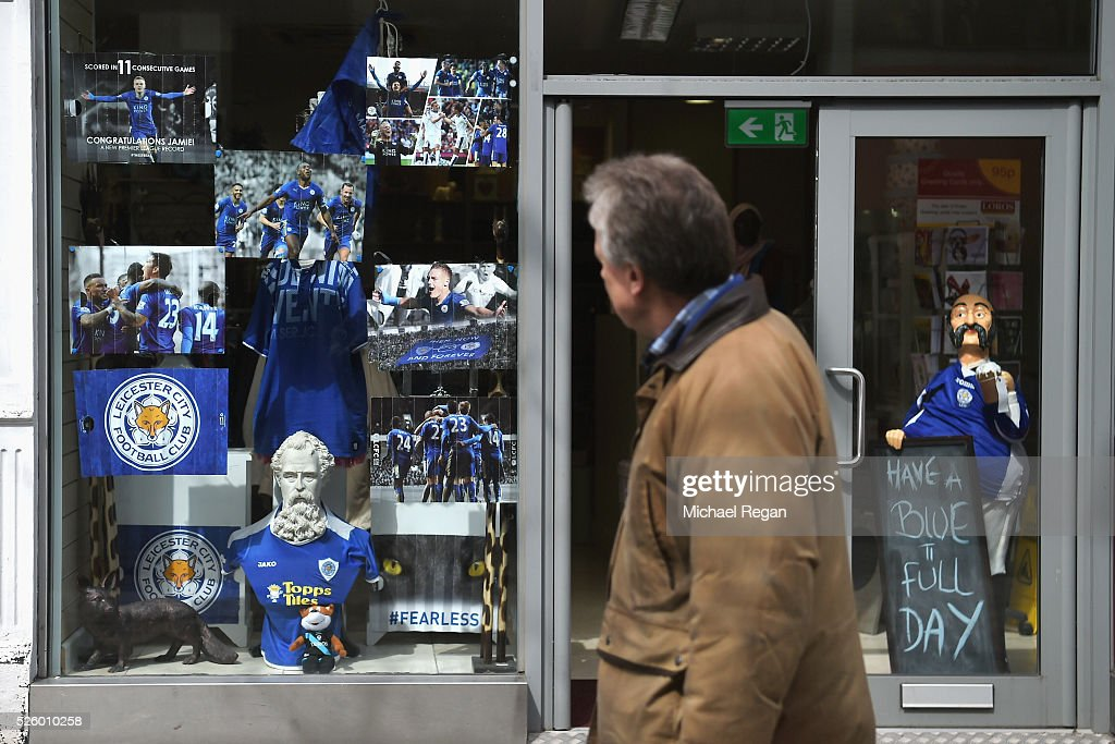 A shop shows support for Leicester City on April 29, 2016 in Leicester, England.