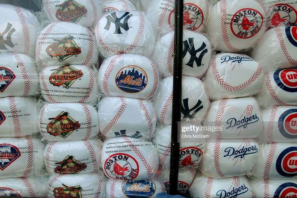 A shop window is jammed with large soft baseballs on July 27, 2007 in Cooperstown, New York. Thousands of baseball fans have arrived in Cooperstown for this weekends Hall of Fame induction ceremony of baseball legends Cal Ripken Jnr and Tony Gwynn.