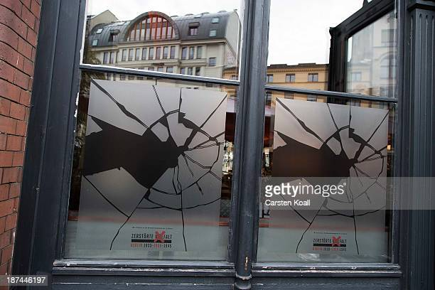 A shop window made to look like it has been smashed to commemorate the 75th anniversary of the Kristallnacht pogroms on November 9 2013 in Berlin...