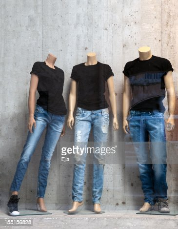 Shop window with three mannequins