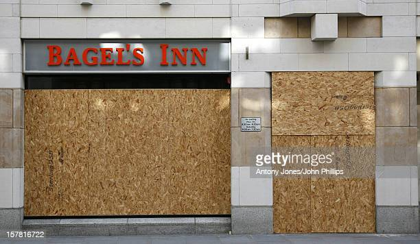 Shop Windows Boarded Up Ahead Of The G20 Protest London