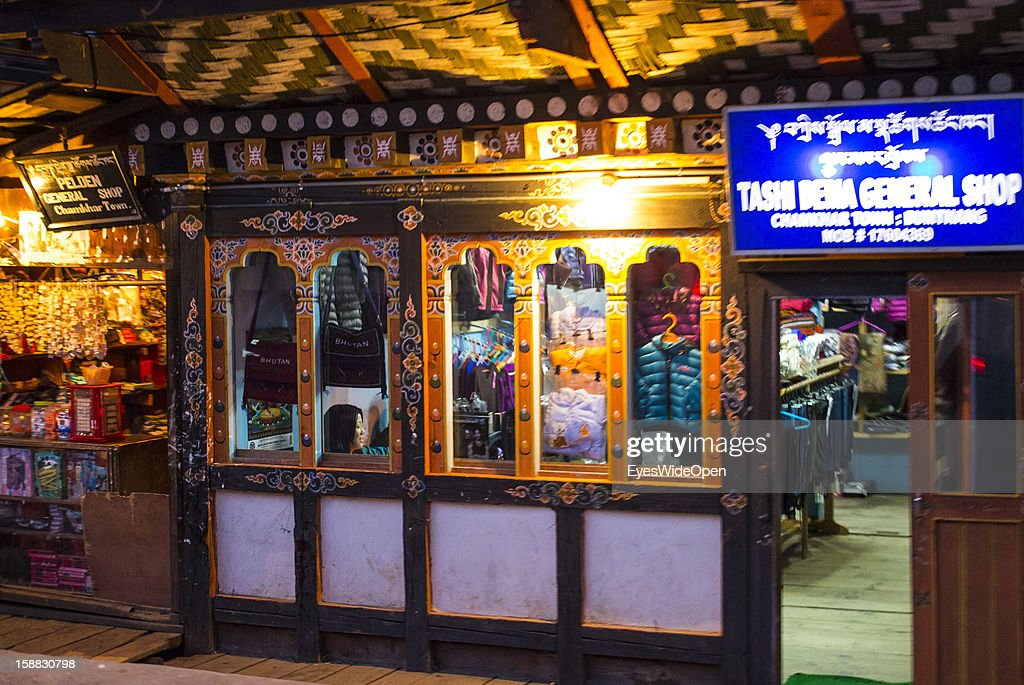Shop with souvenirs and handicrafts on November 18, 2012 in Bumthang, Bhutan.