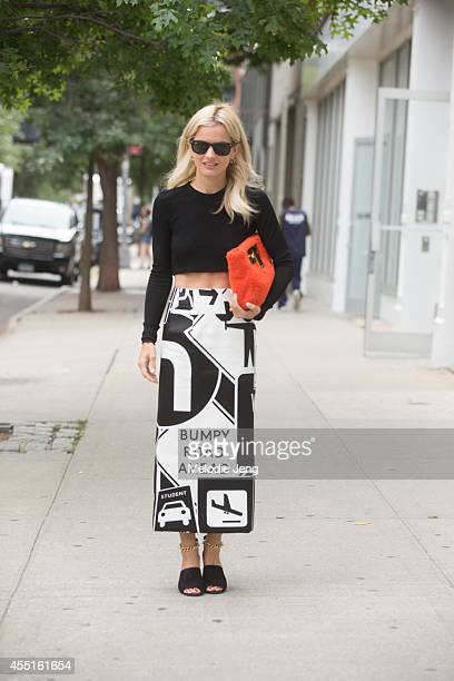 Shopbop Fashion Director Elle Strauss in a Karla Spetic skirt Phillip Lim shoes on Day 6 of New York Fashion Week Spring/Summer 2015 on September 9...