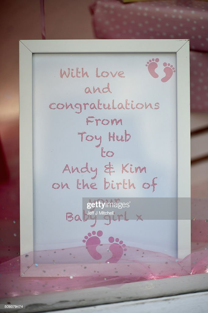 Shopkeepers decorate their windows in Andy Murray's hometown of Dunblane where things have been turned pink to celebrate him becoming a dad yesterday for the first time on February 10, 2016 in Dunblane,Scotland. The tennis star's wife, Kim Sears, gave birth to a girl on Sunday morning..