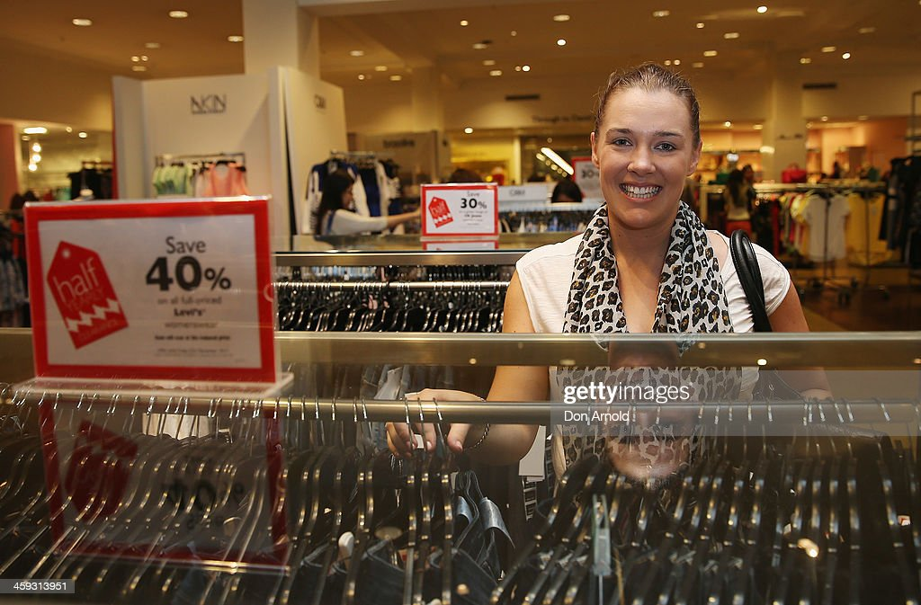 Shopper Alex Roberts checks out the Boxing Day sales at David Jones in its city store on December 26, 2013 in Sydney, Australia. Boxing Day is one of the busiest days for retail outlets in Sydney with thousands takaing advantage of the post-Christmas sale prices.