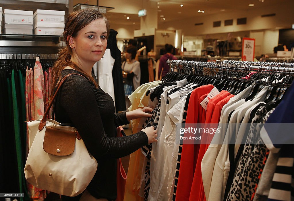 Shopper Elizabeth Jakelic checks out the Boxing Day sales at David Jones in its city store on December 26, 2013 in Sydney, Australia. Boxing Day is one of the busiest days for retail outlets in Sydney with thousands takaing advantage of the post-Christmas sale prices.