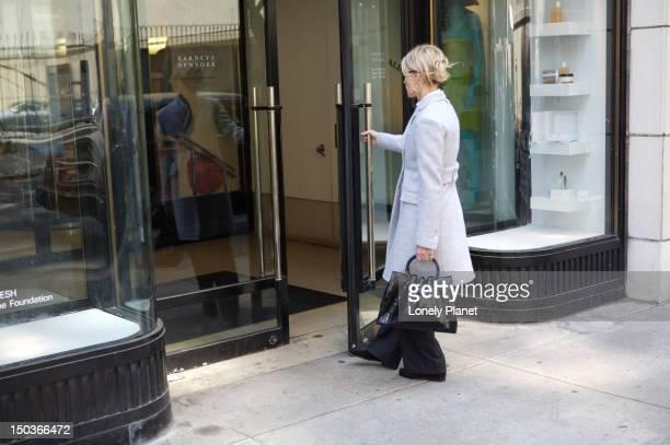 Shopper entering Barney's