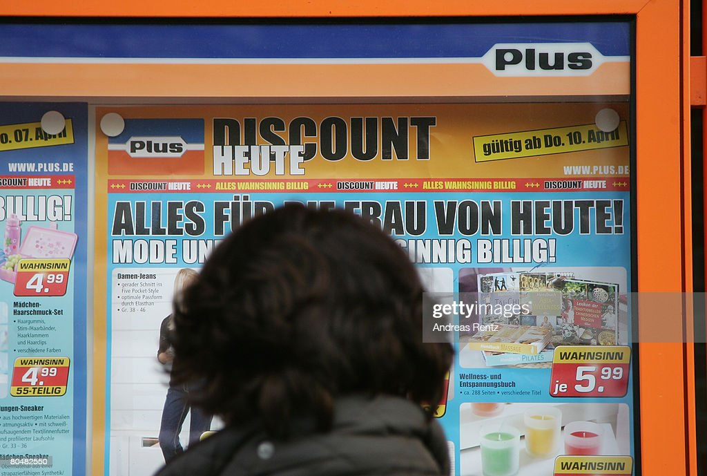 A shopper reads the offer of a supermarket of German discount grocery chain Plus on April 2 2008 in Berlin Germany According to an investigation by...
