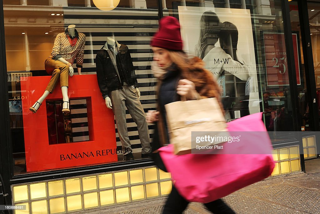 A shopper walks down Broadway on February 7, 2013 in New York City. In another indicator of a slowly strengthening economy, chain stores including Macy's Inc., Target Corp and Gap Inc. reported today January sales that exceeded analysts' estimates.