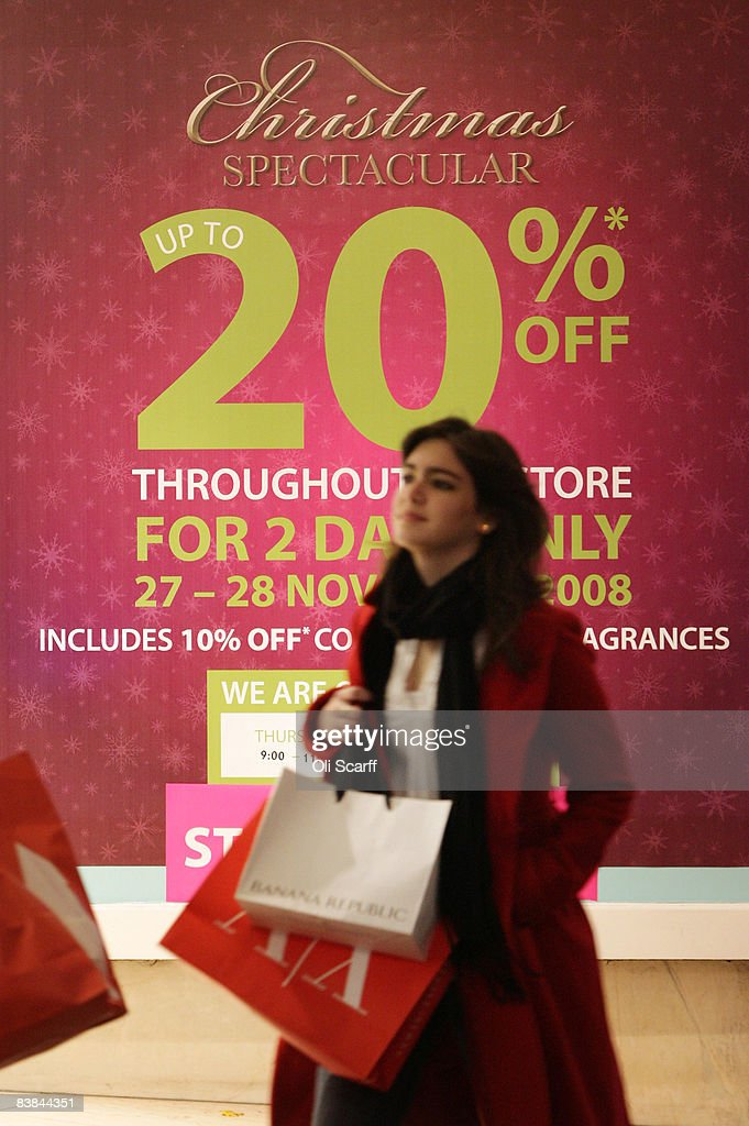 A shopper walks the Debenhams department store on Oxford Street on November 27, 2008 in London, England. The store is holding a two day 20% Off sale to entice Christmas shoppers during a difficult season for retailers as the global credit crisis begins to affect the high street.