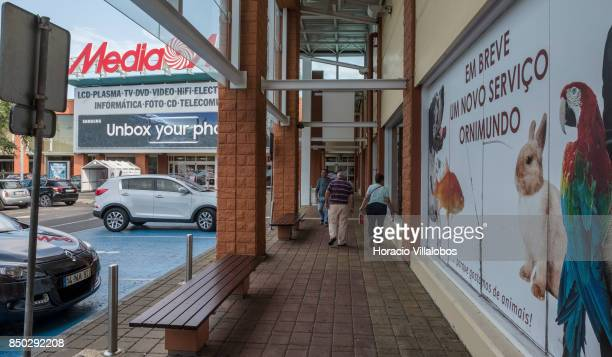 Shoppers are seen at Sintra Retail Park one of four commercial centers owned by The Blackstone Group in Lisbon region on September 20 2017 in Sintra...