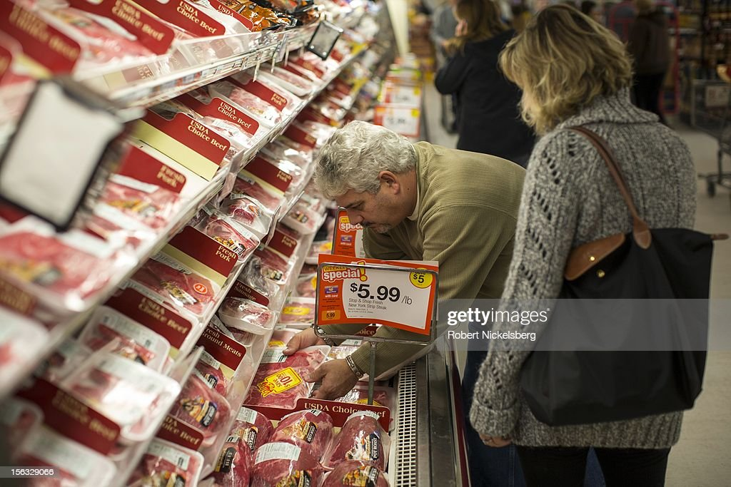 Shoppers check the meat counter November 10, 2012 at a Stop and Shop grocery store in North Branford, Connecticut.