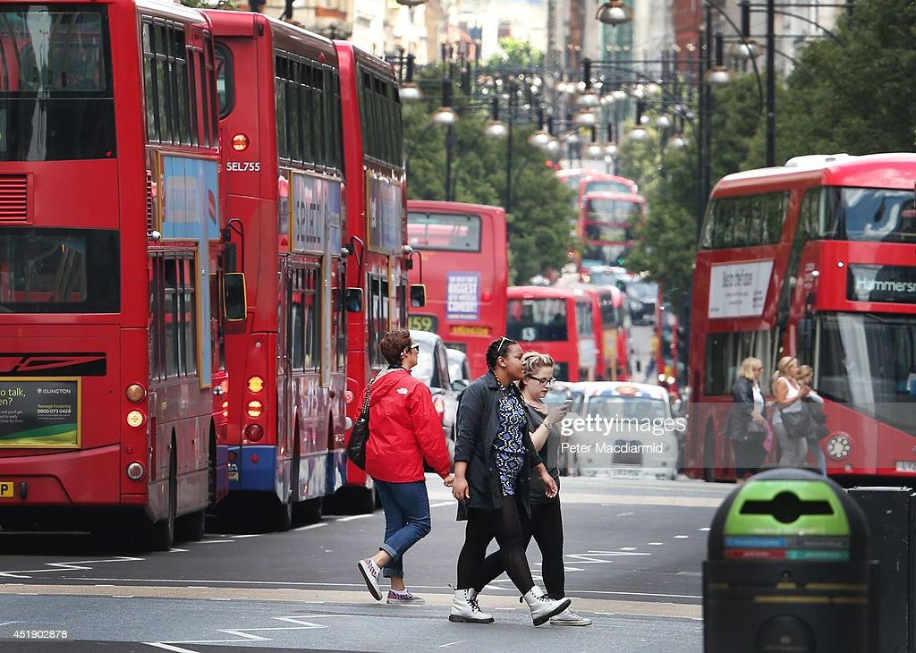 Shoppers cross Oxford Street on July 9 2014 in London England Researchers from King's College London have found that concentrations of nitrogen...