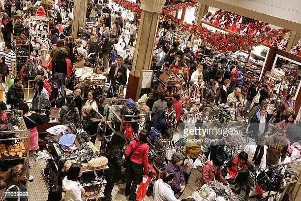 Shoppers crowd the floor at Macy's the day after Thanksgiving November 24 2006 in New York City Many shoppers venture out for early deals as the...