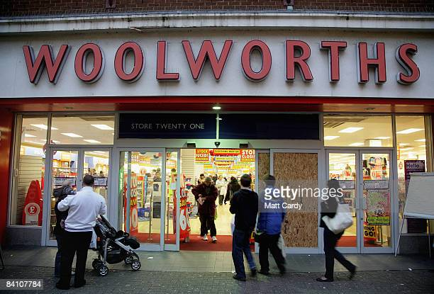 Shoppers enter a branch of Woolworths that is closing down on December 22 2008 in Swindon England Swindon has historically had a reputation as...