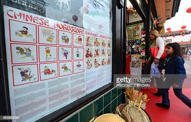Shoppers enter a shop selling curios and trinkets with a poster on the Chinese horoscope on the storefront window in Chinatown's Central Plaza in Los...