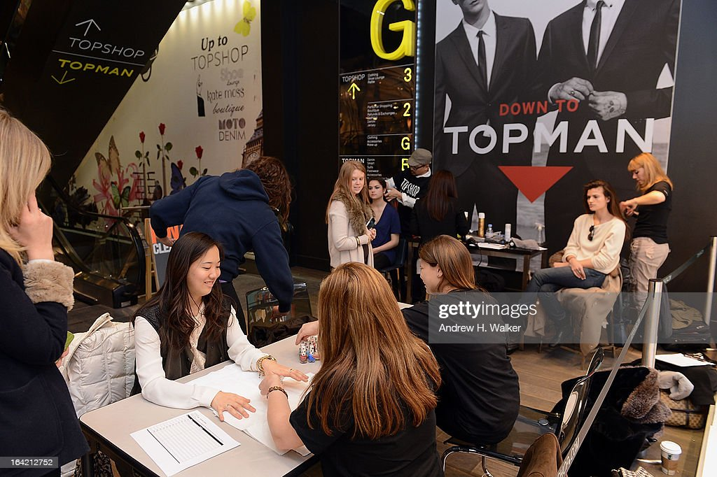 Shoppers gets their hair and nails done at the Topshop Prom Event on March 20, 2013 in New York City. Models pose in Topshop prom looks.