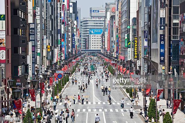 Shoppers in expensive district of Ginza