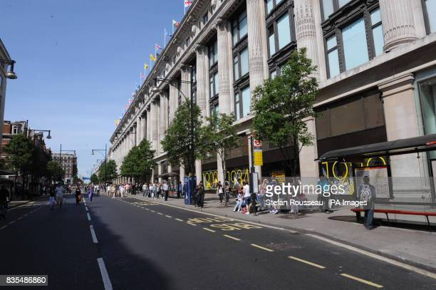 Shoppers in London's Oxford Street today which was declared a no car zone for the day