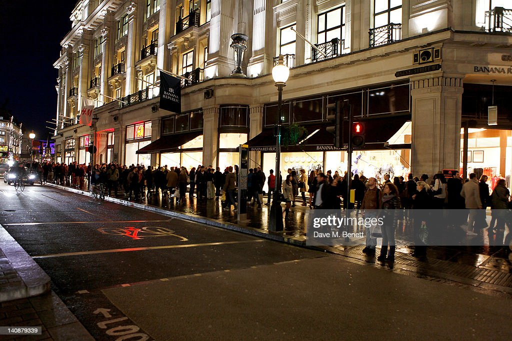 Shoppers line up outside at the launch of Italian fashion house Marni's collection for H&M at H&M Regent Street on March 7, 2012 in London, England.