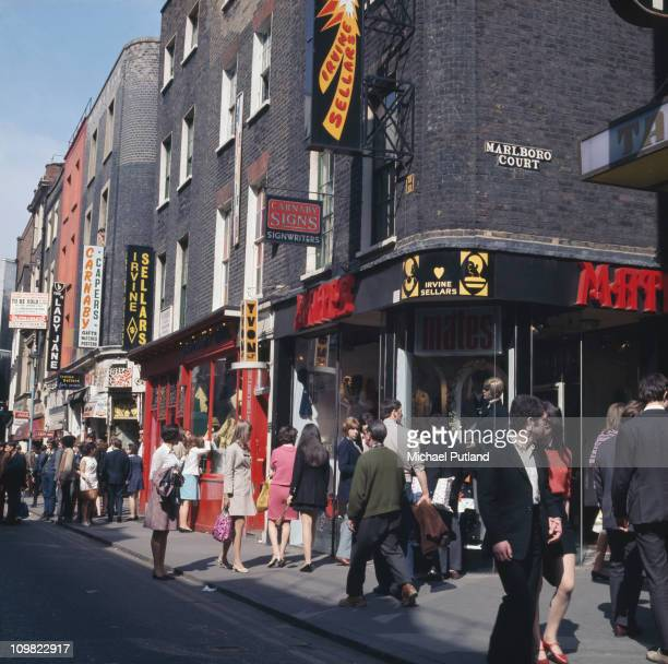 Shoppers on Carnaby Street London circa 1968
