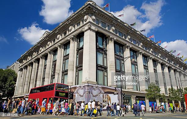Shoppers on Oxford Street in front of Selfridges