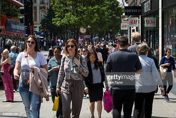 Shoppers on Oxford Street on June 9 2016 in London England Conditions are tough for the High Street as retailers recorded a 19% drop in May The...