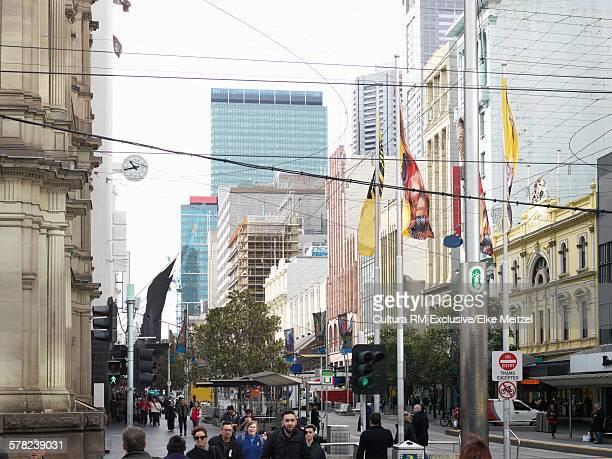 Shoppers on pedestrian street, Melbourne, Victoria, Australia
