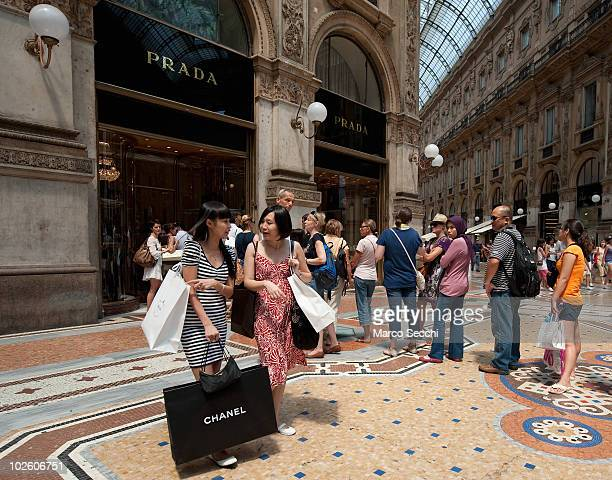Shoppers on the first day of the Summer Sales in the elegant Galleria Vittorio Emanuele II in the centre of Milan on July 3 2010 in Milan Italy...
