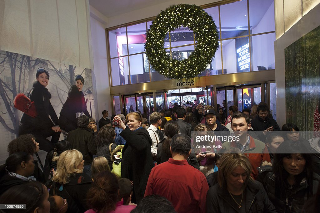 Shoppers pack into the Manhattan Mall during the Black Friday sales on November 23, 2012 in New York City. Shoppers filled stores in search of the many potential bargains on offer during the traditional yearly sale, which got its name as it's said to put retailers 'in the black,' or making a profit.