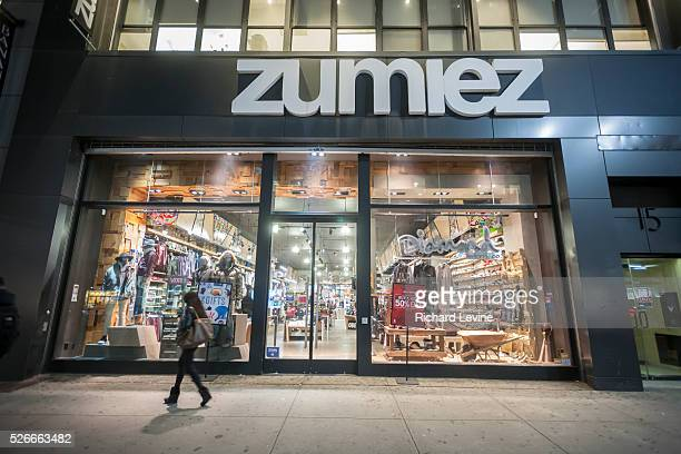 Shoppers pass a Zumiez store in Herald Square in New York on Tuesday January 12 2016 Zumiez announced that it has partnered with Starmount to engage...