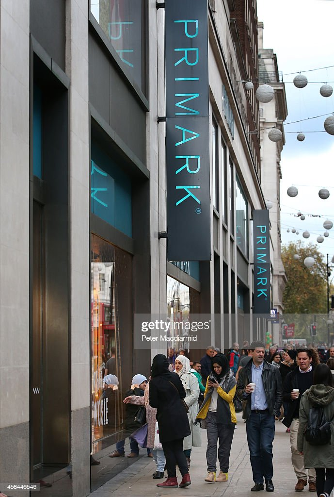 Shoppers pass Primark's flagship store on Oxford Street on November 5 2014 in London England Retail giant Marks and Spencer have shown a continued...