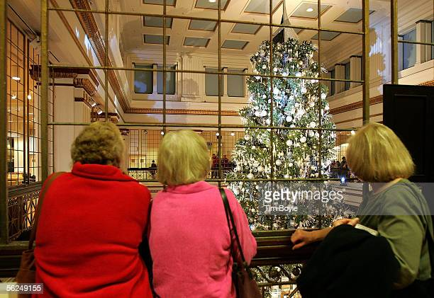 Shoppers pause to look at the Marshall Field's Christmas tree displayed in the store's Walnut Room November 21 2005 in Chicago Illinois Marshall...